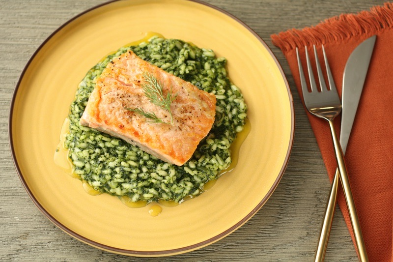 Salmon with Kale Risotto